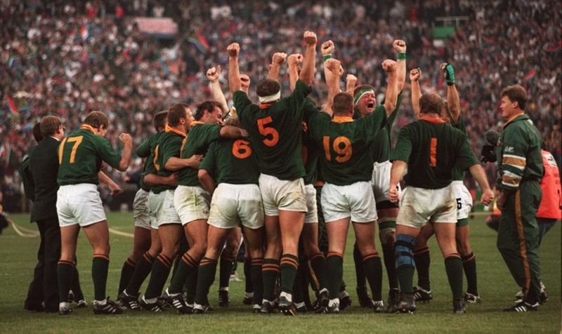South African Rugby Players celebrating 1995 Rugby World Cup victory